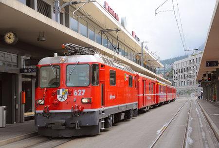 to depart: Chur, Switzerland - June 07, 2010: Train to Arosa is ready to depart.