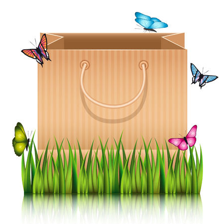picknick: Paper shopping bag on the meadow grass with butterflies Illustration