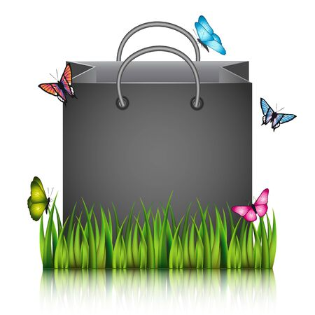 sod: Paper shopping bag on the meadow grass with butterflies. Illustration