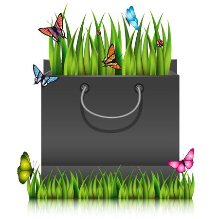 sod: Paper shopping bag with fragment of grass on the lawn peace with butterflies. Vector illustration. Illustration