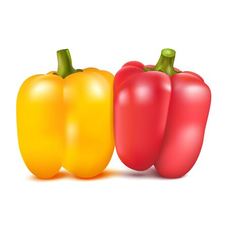 shove: Yellow and red sweet pepper isolated on white background. Vector illustration. Illustration