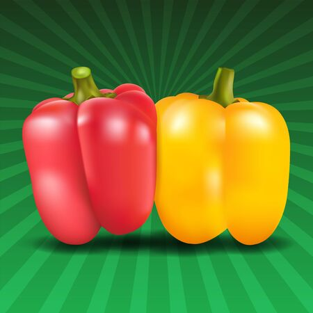 hustle: Yellow and red sweet pepper on green background. Vector illustration.