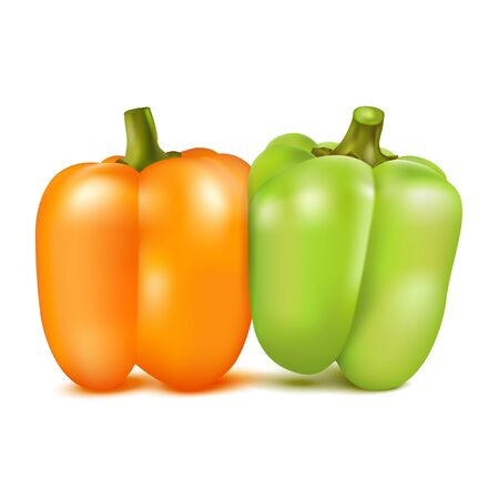 shove: Orange and green sweet pepper isolated on white background.