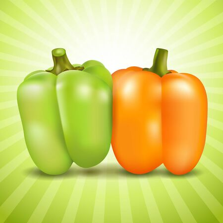Orange and green sweet pepper on colorful background. Illustration
