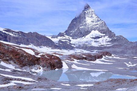 pyramid peak: View of Matterhorn mountain at morning time. Switzerland.