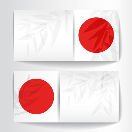 red sun: Banners with bamboo trees and leaves with red sun on white background.