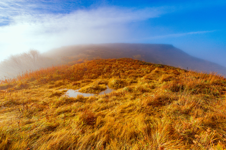 Early autumn morning on the top of the mountain. Caucasus. Russia.
