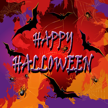 curse: Colorful Halloween background with the spiderwebs and bats. Vector illustration. Illustration