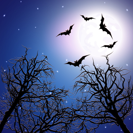 Flock of bats above the trees at night time. Halloween background. Vector illustration. Illustration