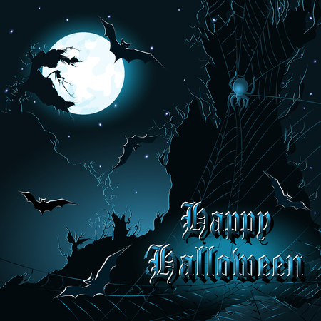curse: Halloween background with cliffs, bats, moon and spiderweb. Vector illustration.