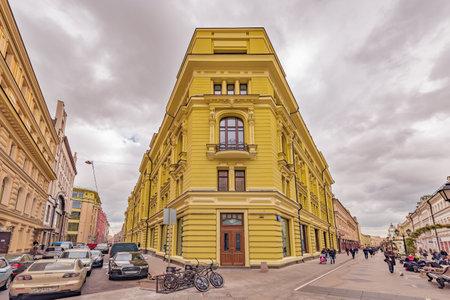 prestige: Moscow, Russian Federation, September 15, 2016: Prestige apartment house on Nikoljskaja street in the historical city center. Editorial