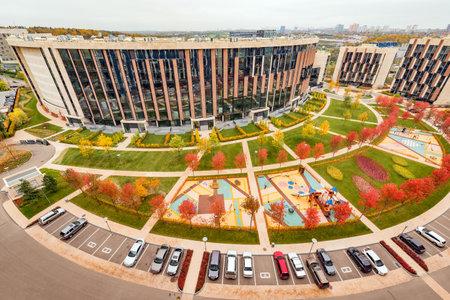 prestige: Moscow, Russian Federation, October 06, 2016: Prestige apartment houses in Skolkovo park.