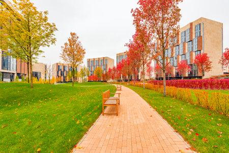 prestige: Moscow, Russian Federation, October 06, 2016: Park between prestige apartment houses in Skolkovo park. Editorial