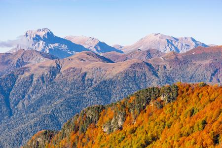 Fisht, Oshten, Pshecho Sou mountains at autumn day time. Caucasus. Russia.