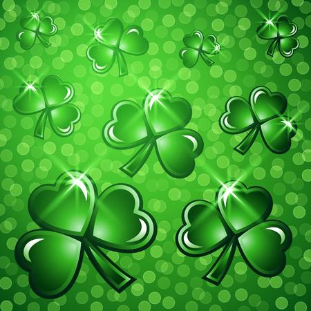 cloverleaf: St Patricks Day abstract background. Vector illustration. Illustration