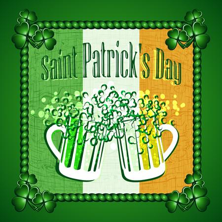 cloverleaf: St Patricks Day greeting card background. Vector illustration. Illustration