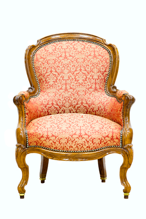 Victorian Furniture: Old Vintage Luxury Armchair Isolated On White  Background.