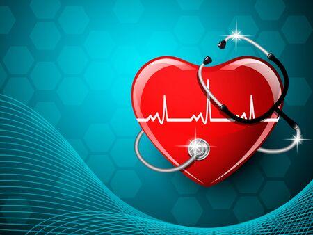 청진 기 의료 장비 및 심장 모양입니다. 벡터 일러스트 레이 션.