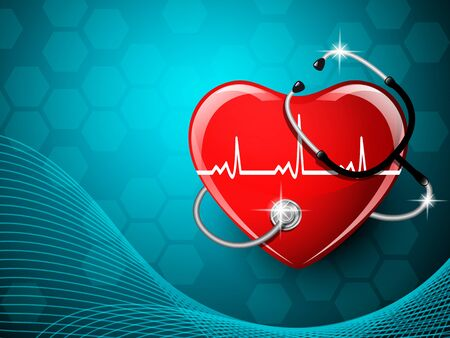 Stethoscope medical equipment and heart shape. Vector illustration. Ilustração