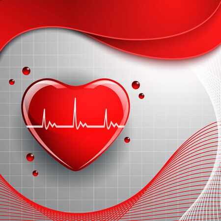 Heart shape on the abstract colorful background. Illustration
