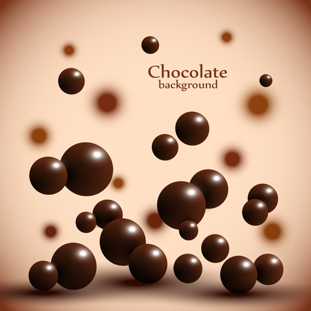Dark chocolate balls on abstract background. Vector illustration 免版税图像 - 76241872