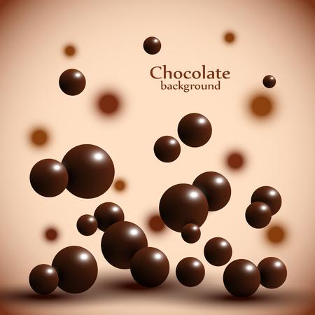 Dark chocolate balls on abstract background. Vector illustration