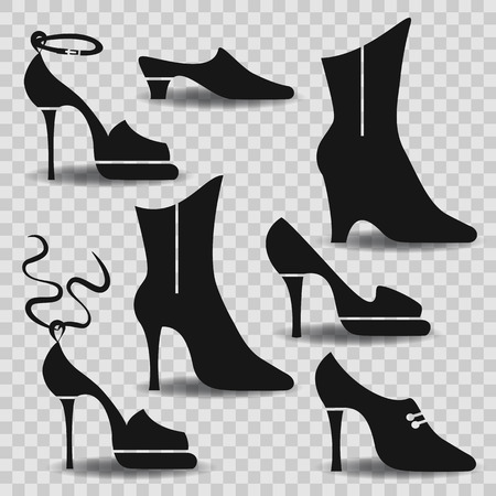 heelpiece: Different types of women shoes on abstract background.