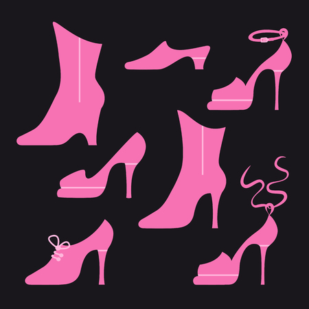 heelpiece: Different types of women shoes on black background. Illustration