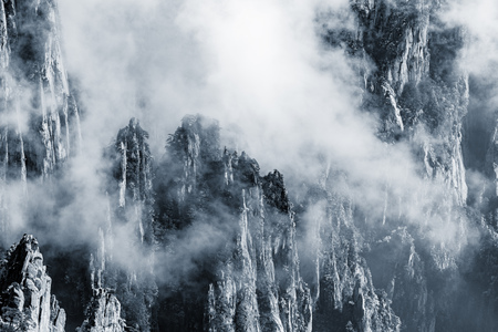 cloudscapes: Clouds above the peaks of Huangshan National park. China.