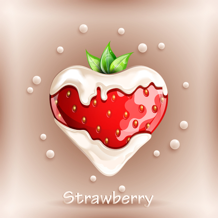 Fresh strawberry in cream on colorful background. Vector illustration.
