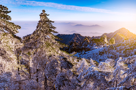 Sunrise above the peaks of Huangshan National park. China. Stock Photo