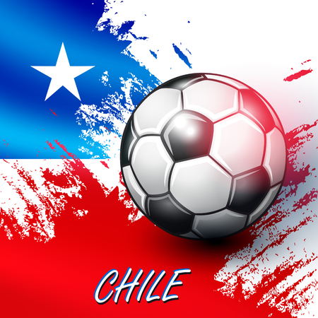 world championships: Soccer ball on Chilean flag background. Vector illustration.