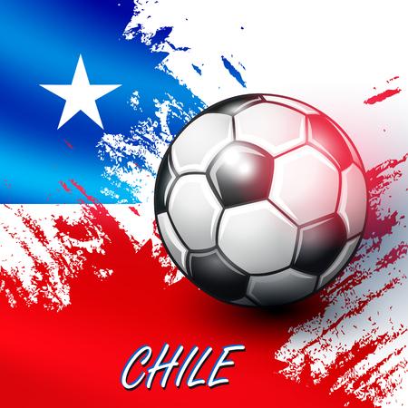 Soccer ball on Chilean flag background. Vector illustration.