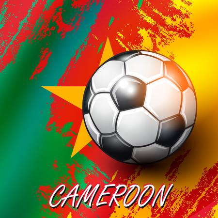 Soccer ball on Cameroon flag background. Vector illustration.