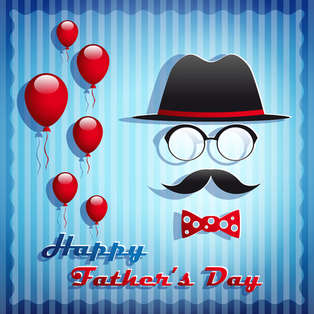 Happy Fathers Day greeting card vector illustration.