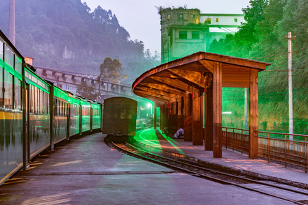 Evening view of the narrow-gauge Yuejin station by the coal loading point. Jiayang Mining Region. Sichuan province. China.