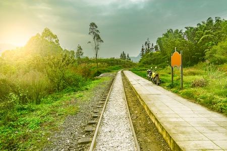 Passenger platform by the narrow-gauge railway from Yuejin to Bagou. Jiayang Mining Region. Sichuan province. China.