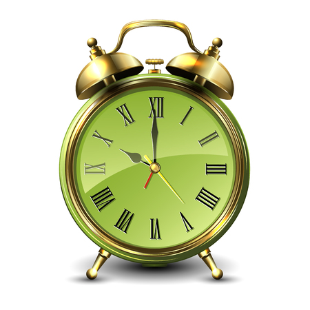 appointments: Green retro style alarm clock isolated on white background. Vector illustration.