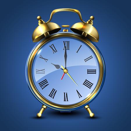 Metal retro style alarm clock isolated on blue background. Vector illustration. Illustration