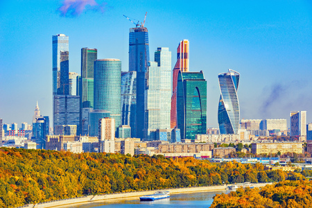 Autumn view of the business city center by Moscow river. Russia. Stock Photo