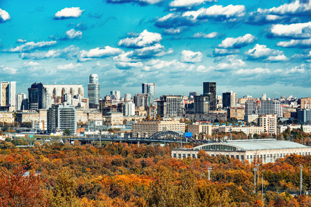 Autumn view of the south city district. Moscow. Russia. Stock Photo