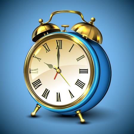 Metal retro style alarm clock on blue background. Vector illustration. Vector Illustration