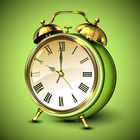 appointments: Green retro style alarm clock on green background. Vector illustration. Illustration
