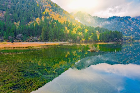 Autumn view of the lake with pure water at early morning time. (Jiuzhaigou nature reserve) Jiuzhai Valley National Park, China