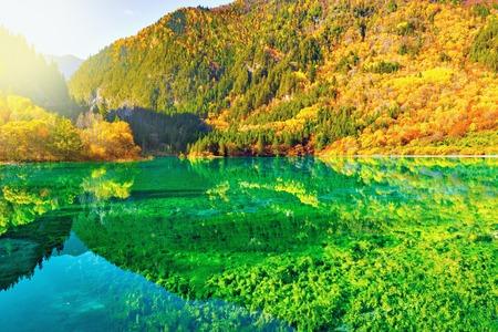 Five Flower Lake. China. Stock Photo