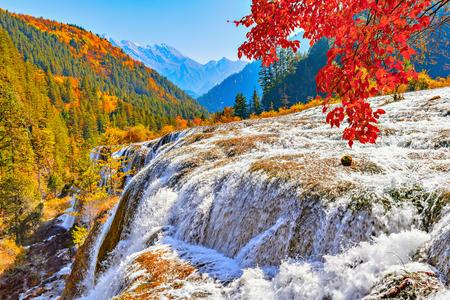 Autumn view of the waterfall with pure water. Jiuzhaigou nature reserve, Jiuzhai Valley National Park, China Stock Photo