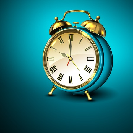 appointments: Metal retro style alarm clock on blue background. Vector illustration.
