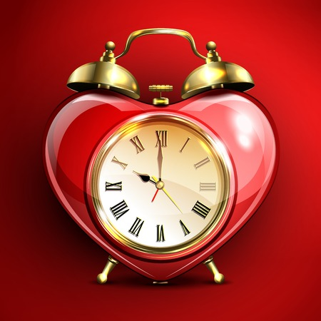 Metal retro style alarm clock in heart form on red background. Vector illustration. Illustration
