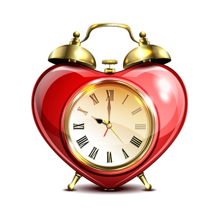 o'clock: Metal retro style alarm clock in heart form on white background. Vector illustration.