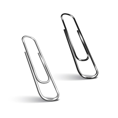 Two paper clips on white background.